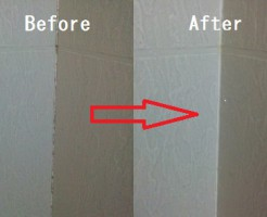 風呂場のパッキンのカビBeforeAfter
