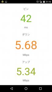 通信速度ワイモバイル(NEXUS5)LTE001