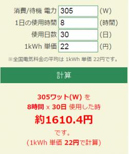 除湿機の電気代シュミレーション305W