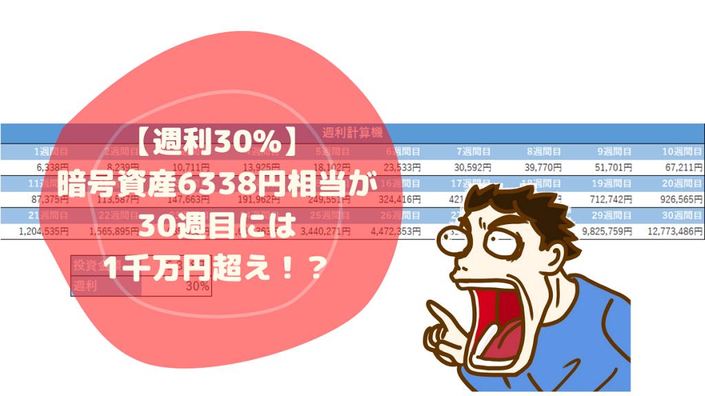 【週利30%】暗号資産6338円相当が30週目には1千万円超え!?