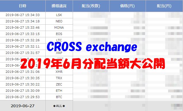 【CROSS exchange】2019年6月分の配当を全て公開!